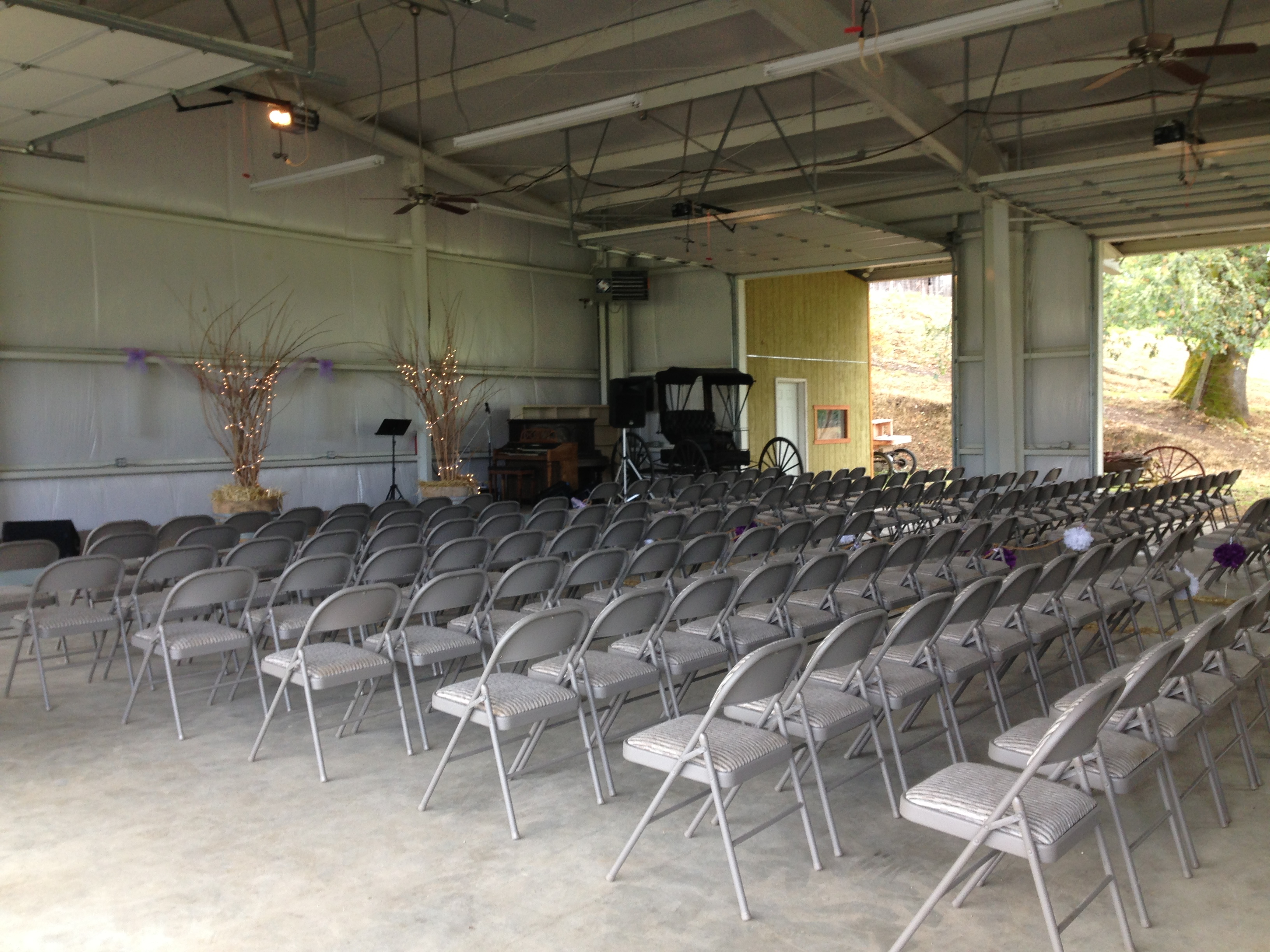 A 200 seat facility with sound system, stage, and projector